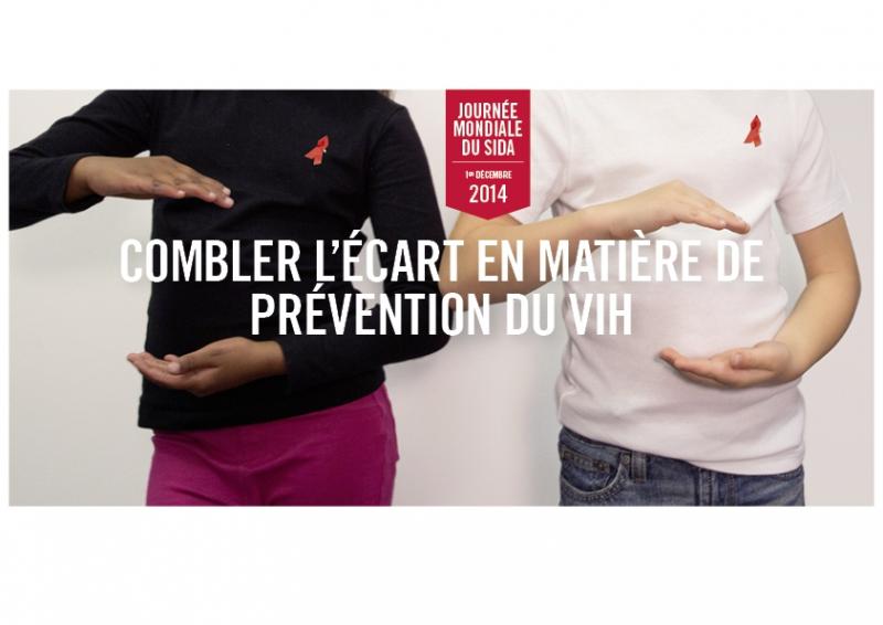 Journée mondiale du sida 1er décembre 2014 Combler l'écart en matière de prévention du VIH [deux personnes]  - image/jpeg