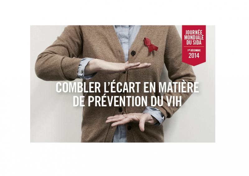 Journée mondiale du sida 1er décembre 2014 Combler l'écart en matière de prévention du VIH [une personne] - image/jpeg