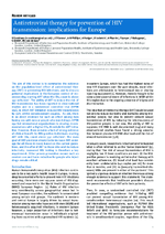 Antiretroviral therapy for prevention of HIV transmission : implications for Europe - application/x-pdf