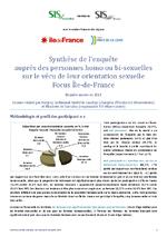 Synthèse de l'enquête auprès des personnes homo ou bi-sexuelles sur le vécu de leur orientation sexuelle Focus Île-de-France - application/x-pdf