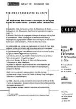 Lettre du CRIPS Ile-de-France. n° 23: Les expériences franciliennes d'échanges de seringues auprès des toxicomanes - application/x-pdf