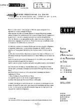 Lettre du CRIPS Ile-de-France. n° 29: Prévention et information sur le VIH, enjeux moraux et traditions religieuses  - application/x-pdf