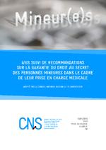 Avis suivi de recommandations sur la garantie du droit au secret des personnes mineures dans le cadre de leur prise en charge médicale adopté par le Conseil national du sida le 15 janvier 2015  - application/pdf