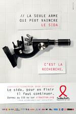 La seule arme qui peut vaincre le sida, c'est la recherche : le sida, pour en finir, il faut continuer, donnez au 110 ou sur sidaction.org - image/jpeg