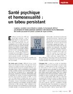 Santé psychique et homosexualité : un tabou persistant ; La trajectoire sociale est plus compliquée pour les homosexuels - application/pdf