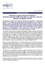 """Antiviraux à action directe anti-hépatite C : premières données d'efficacité dans la """"vraie vie"""" chez les patients co-infectés VIH/VHC - application/pdf"""