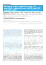 Sub-Saharan African migrants living with HIV acquired after migration, France, ANRS Parcours study, 2012 to 2013 - application/pdf