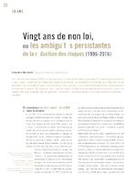 Vingt ans de non loi, ou les ambiguïtés persistantes de la réduction des risques (1996-2016) - application/pdf