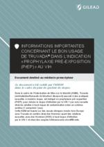 Informations importantes concernant le bon usage de Truvada® dans l'indication  Prophylaxie pré-exposition (PrEP) » au VIH (prescripteurs) - application/pdf