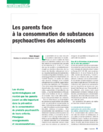 Les parents face à la consommation de substances psychoactives des adolescents - application/pdf